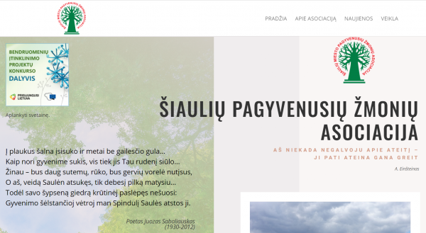Naujoji Šiaulių pagyvenusių žmonių asociacijos svetainė padės žinią apie save paskleisti plačiau